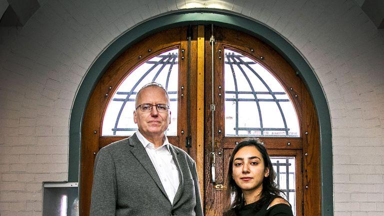 Armenian Hayarpi Tamrazyan (R) and Dutch pastor Theo Hettema in the Bethel church in The Hague