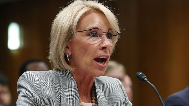 US education secretary Betsy DeVos plans to boost the rights of those accused of campus sexual assault