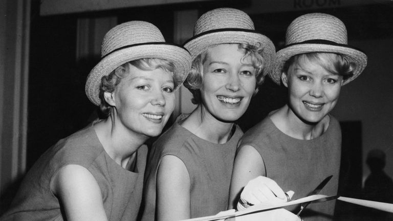 The Beverley Sisters - (l-r) Babs, Joy, Teddie - cut the ribbon to open the 1961 International Audio Festival at the Hotel Russell in London, 6 April 1961