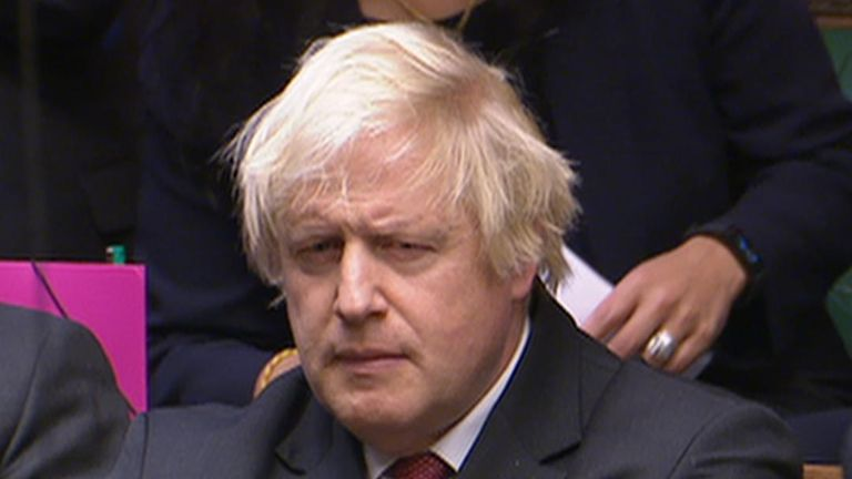 Boris Johnson does not look convinced by the answer he is given by the prime minister in the House of Commons on the proposed Brexit deal