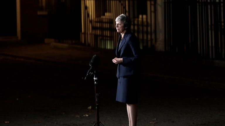 Theresa May emerged from 10 Downing Street after her cabinet discussed the deal for five hours