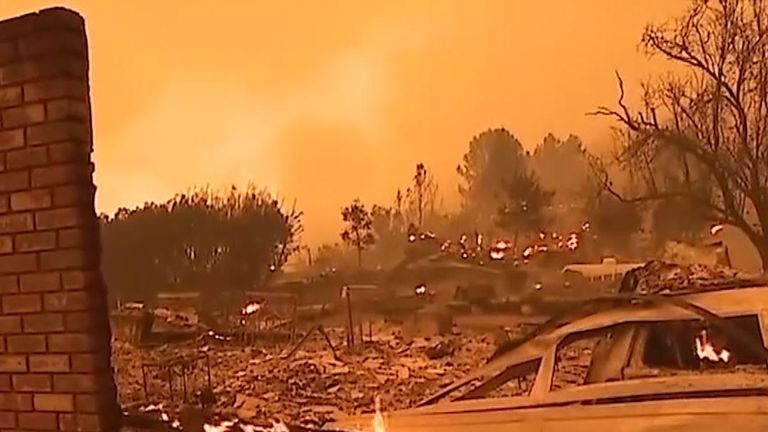 Wildfires destroy buildings and countryside in northern California