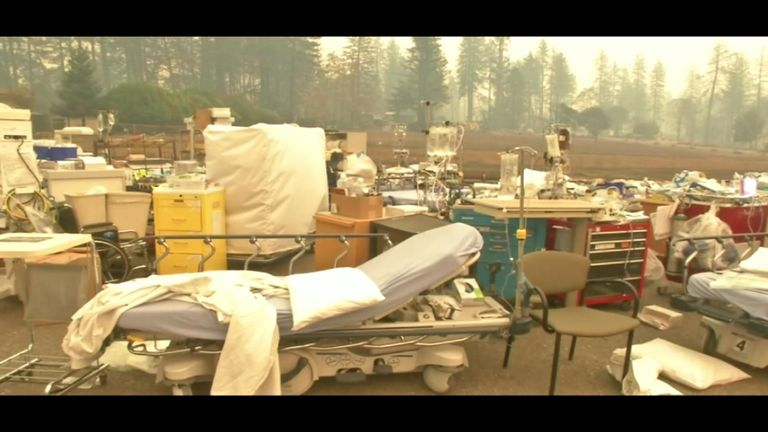 Furniture was removed from the Feather River Hospital in Paradise