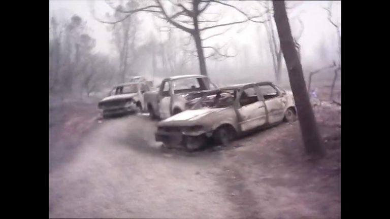 Footage has emerged out of burned cars in the town of Paradise after the fires took hold