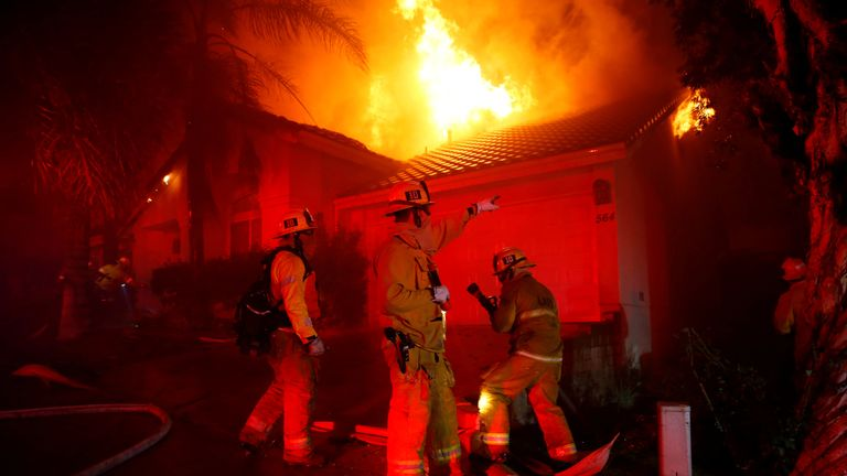 Firefighters looked on hopelessly as the blaze took hold