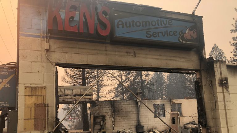 Ken's Automotive Service repair shop lies in ruins after wildfires devastated the area in Paradise, California, U.S., November 12, 2018. Picture taken November 12, 2018. REUTERS/Sharon Bernstei