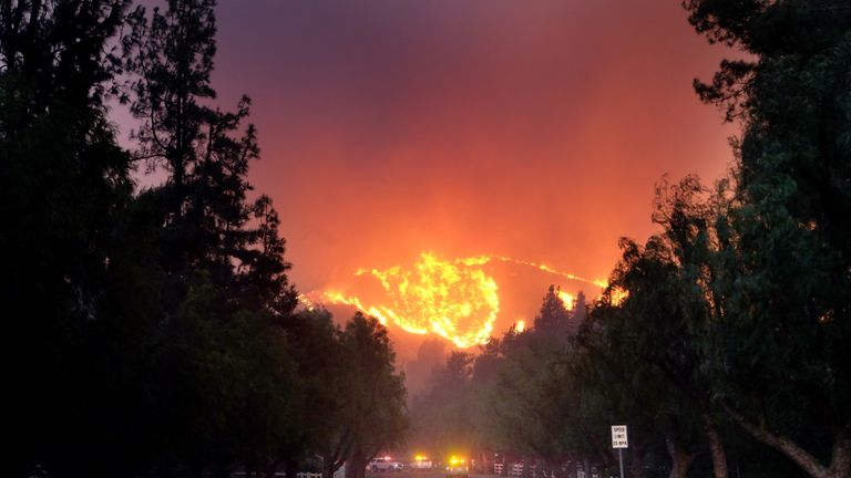 The Woolsey Fire burns towards Paramount Ranch in Agoura Hills, California