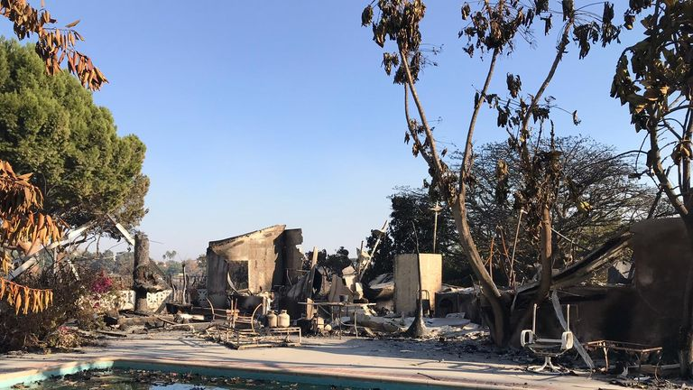 A destroyed mansion in Malibu. Sky News pic