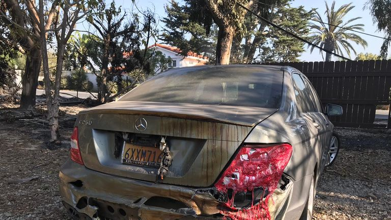 A destroyed Mercedes in Malibu