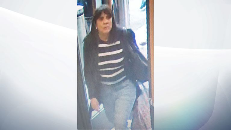 CCTV image released by Cambridgeshire Police of an unnamed woman officers want to speak to in connection with the theft of a purse and £10,000 worth of fraud from hospital patient Mary Banks.