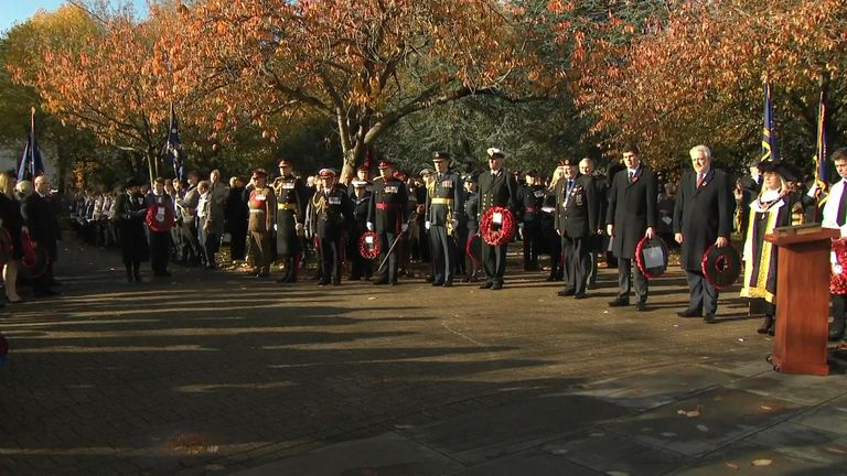 A two minutes' silence is observed in Cardiff