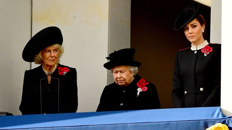 The Duchess of Cornwall, Queen Elizabeth II and the Duchess of Cambridge during the remembrance service at the Cenotaph memorial