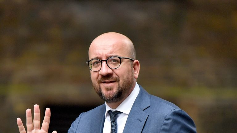 Belgian Prime Minister Charles Michel arriving for talks with Prime Minister Theresa May at 10 Downing Street, London.
