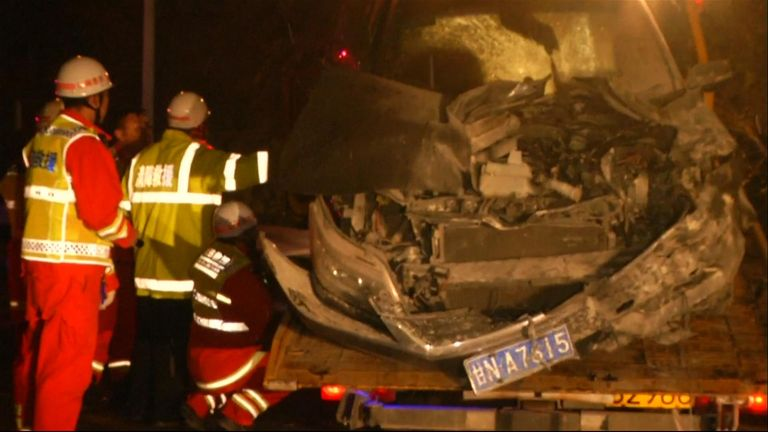 The crash happened on Saturday night after a truck driver lost control