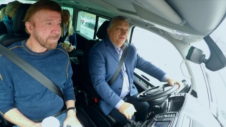 Chuck Norris and Viktor Orban take a drive together