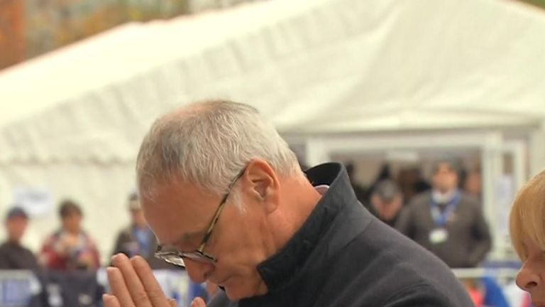 Claudio Ranieri pays respects at King Power Stadium