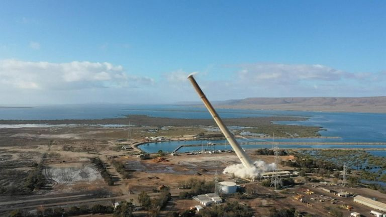 The 200m (656 ft) high chimney was part of the former Northern Power Station in Port Augusta
