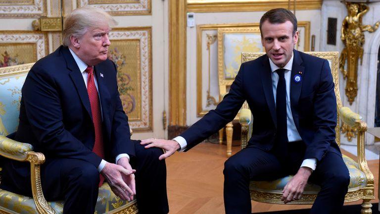 Trump and Macron had a tense meeting in Paris earlier