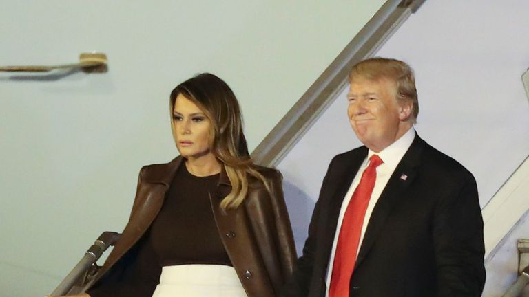 President Donald Trump and first lady Melania Trump arrive in Buenos Aires, Argentina