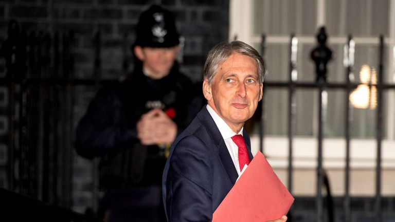 Philip Hammond arrives back at Downing Street as cabinet ministers read the draft Brexit documents