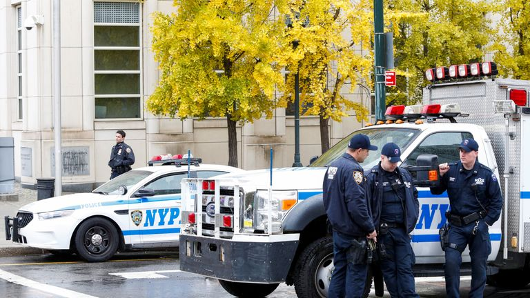 """Police guard the courthouse of United States District Court for the Eastern District of New York where Joaquin """"El Chapo"""" Guzman was brought in Brooklyn, New York, U.S., November 5, 2018"""
