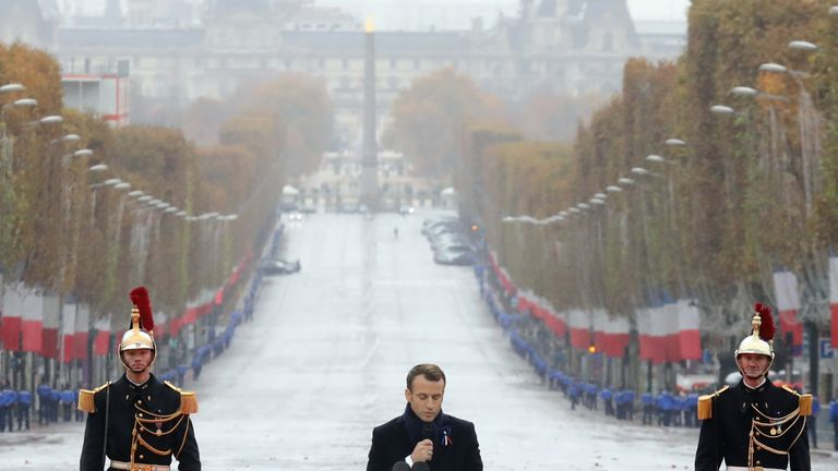 French President Emmanuel Macron delivers a speech at the Arc de Triomphe in Paris