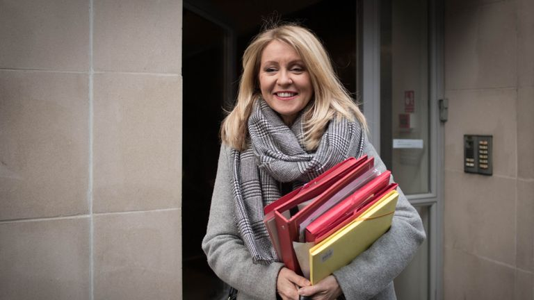 Esther McVey leaves her home in London this morning