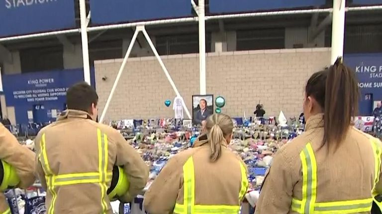 Leicester firefighters viewed the tributes outside the stadium on Thursday