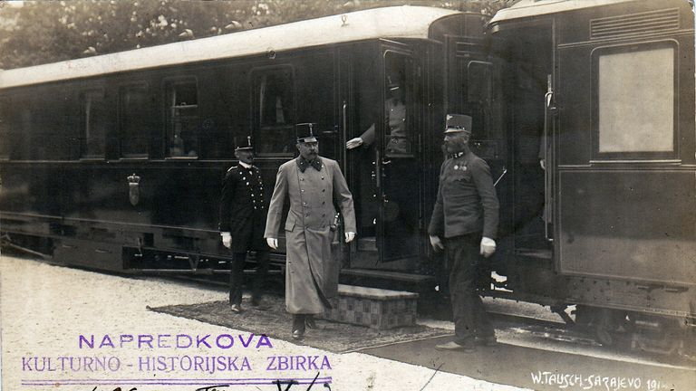 Archduke Franz Ferdinand exiting a train in Sarajevo the day before his death