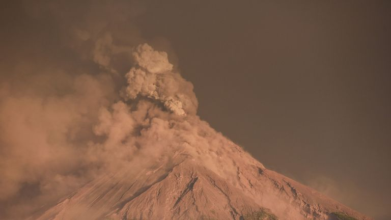 Ash clouds also enveloped the volcano
