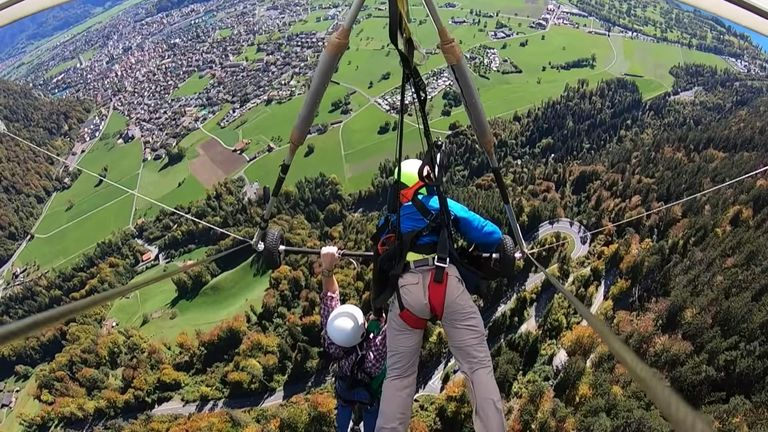 Man hangs on unattached to glider during first ever lesson and survives