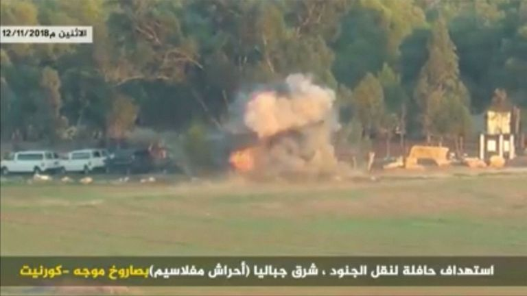 Hamas published a video appearing to show an Israeli army bus being hit by guided missiles