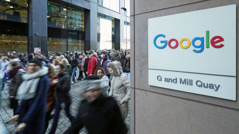 Google employees at its European headquarters in Dublin, Ireland, join others from around the world walking out of their offices in protest over claims of sexual harassment, gender inequality and systemic racism