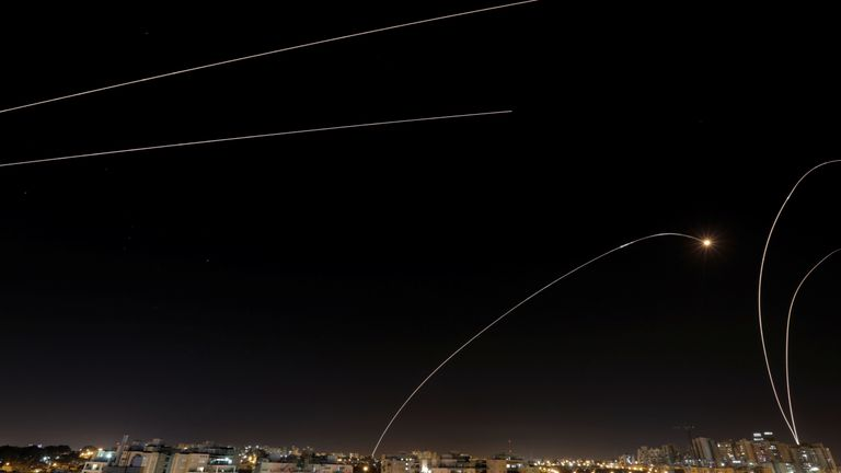 An Iron Dome anti-missile fires from Ashkelon near the Israeli side of the Gaza border