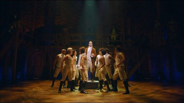 Hamilton, being performed in the US.