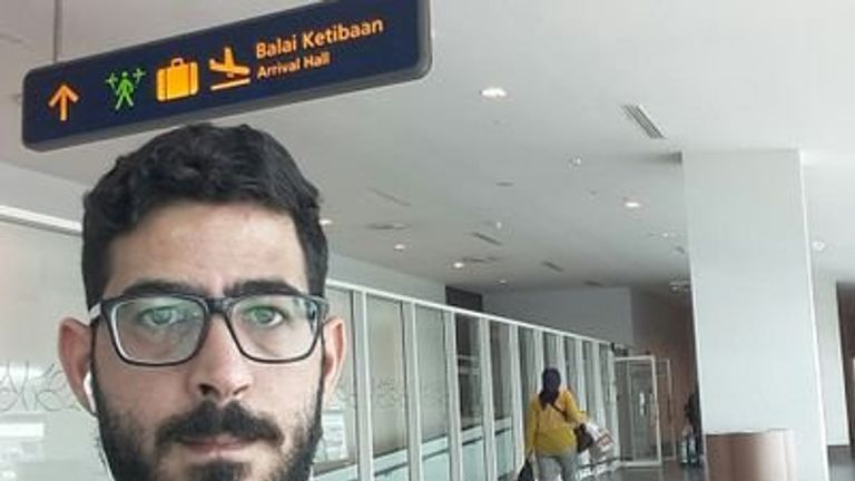 Hassan al Kontar was not allowed into Malaysia but also not allowed on a plane. Pic: Hassan Al Kontar/Twitter