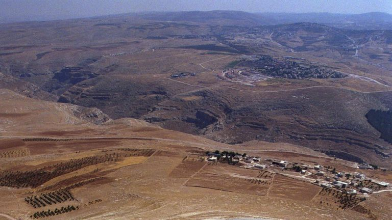An aerial view of the hilltop fortress of Herodion near Bethlehem, where Herod's tomb is located