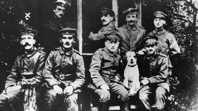 Corporal Adolf Hitler (far left) in the German army in 1916