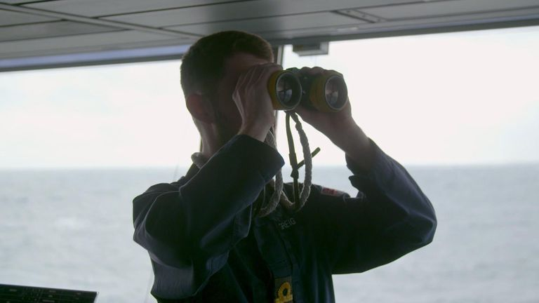Crewman observes Russian planes as they sweep around HMS Duncan in the Black Sea