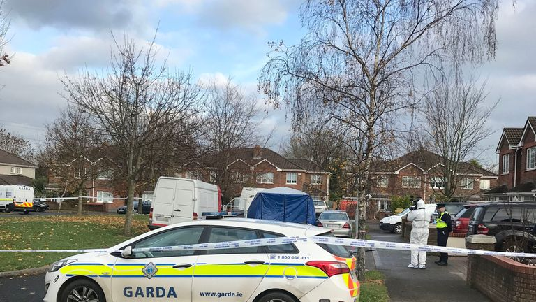 Police remained on the scene on Friday