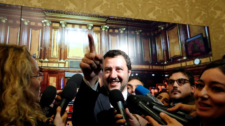 Interior Minister Matteo Salvini speaks to the media at the Senate in Rome
