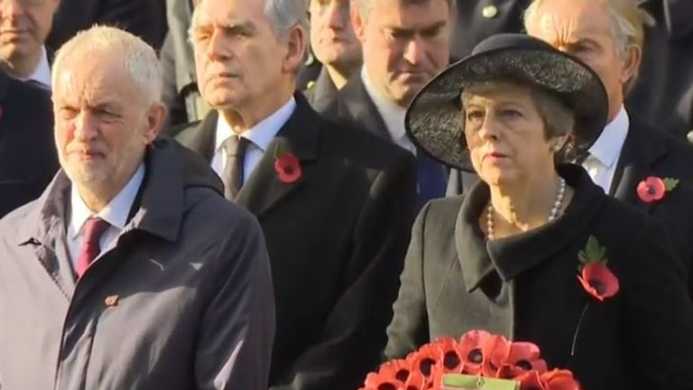 Jeremy Corbyn and Theresa May move to lay their wreaths