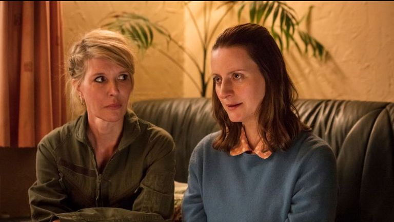 Julia Davis (Emma) and Catherine Shepherd (Sally) in Sky Atlantic show Sally4Ever