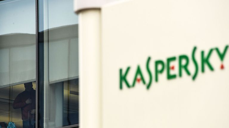 The logo of Kaspersky Lab, Russia's leading antivirus software development company, is seen at its headquarters in Moscow on October 25, 2017. / AFP PHOTO / Kirill KUDRYAVTSEV (Photo credit should read KIRILL KUDRYAVTSEV/AFP/Getty Images)