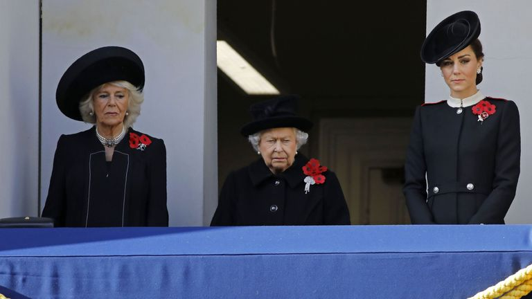The Duchess of Cornwall (L), the Queen and the Duchess of Cambridge at the Cenotaph