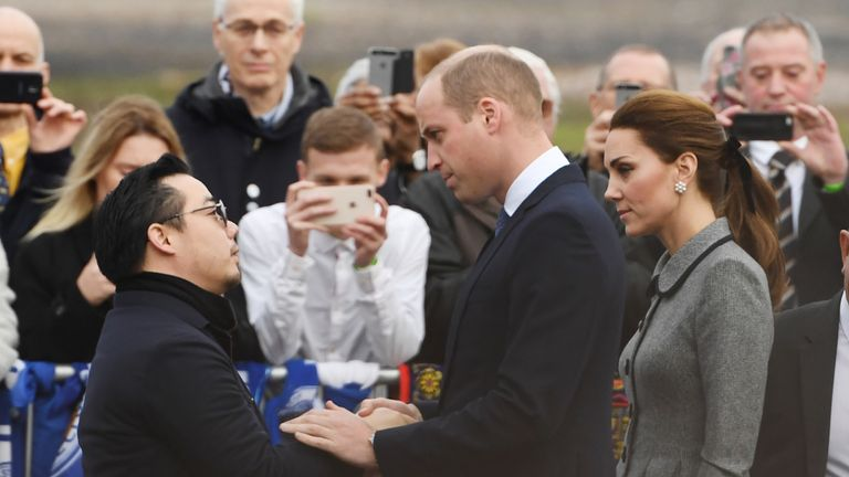 The duke held Aiyawatt's hand before introducing him to the duchess