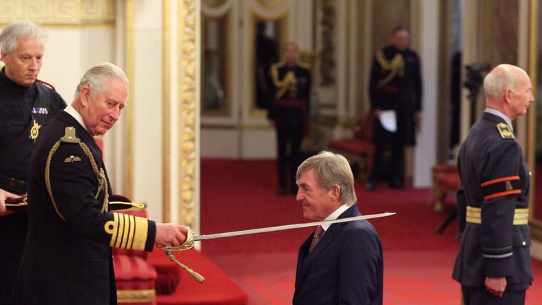 Liverpool legend Sir Kenny Dalglish is knighted by the Prince of Wales at Buckingham Palace. PRESS ASSOCIATION Photo. Picture date: Friday November 16, 2018. See PA story ROYAL Investiture. Photo credit should read: Yui Mok/PA Wire