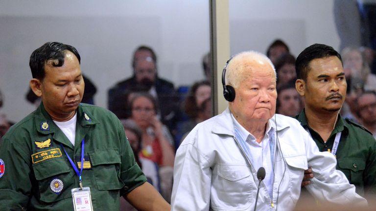 Khmer Rouge leader Khieu Samphan in court
