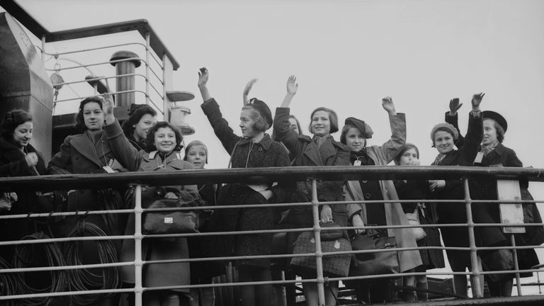 Children arrive in Harwich, Essex, as part of the Kindertransport operation