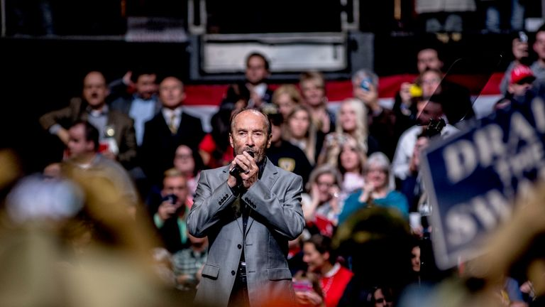 Singer Lee Greenwood performs 'God Bless The USA' at a Trump rally.